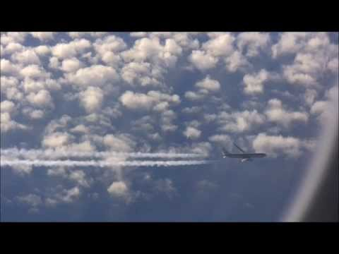 AMAZING NEAR MISS - crossing the flight path of an American Airlines Boeing 767-300ER