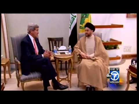 John Kerry, U.S. Secretary of State, heads to Iraq to meet with Shiite prime minister, Sunni and Kur