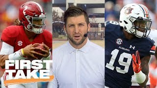 Tim Tebow predicts winner of Alabama vs. Auburn Iron Bowl game | First Take | ESPN