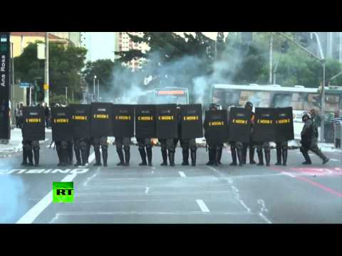 RAW: Police fire tear gas in Sao Paulo as protests continue ahead of Brazil World Cup