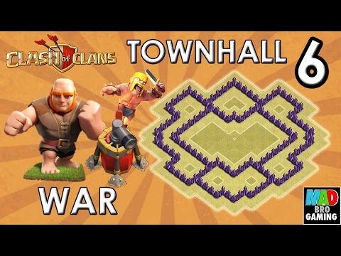TH6 WAR Base (Anti Giant) with New AIR SWEEPER - Clash of Clans 2015