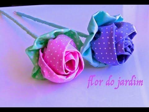 Botao de Rosa em Tecido- Passo a Passo -tutorial HOW TO MAKE ROLLED RIBBON ROSES- fabric flowers