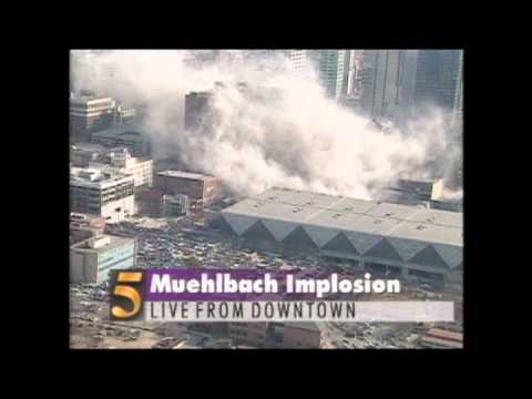 Liveshot of Historic Muehlbach Towers Implosion, 1994, Kansas City, MO