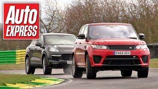 Range Rover Sport SVR vs Porsche Cayenne Turbo track battle