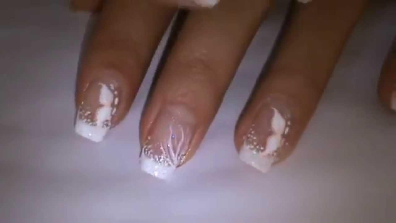 classic BRIDAL INSPIRED nail art design - YouTube