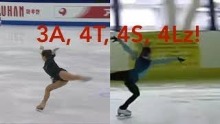 23 ladies of figure skating performing 3A and 4's (triple axels and quads)