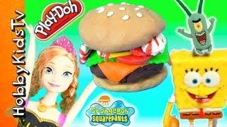 SpongeBob Makes Anna PLAY-DOH Krabby Patty With Bacon