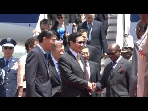 Taiwan President Ma Ying-jeou arrives Saint Kitts, Caribbean; inspects Guard of Honour