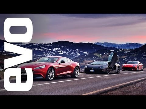 Ferrari F12 vs Lamborghini Aventador vs Aston Martin Vanquish - evo review, F12 vs Aventador vs Aston Vanquish: http://bit.ly/YVqnmL Subscribe to evo TV for more videos: http://bit.ly/WpFurP Register for evo's weekly newsletter: http...