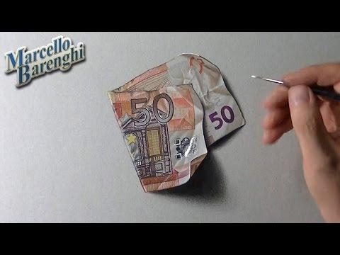 Desenho super realista de uma nota de 50 euros em 3D | Super realistic drawing of a fifty euro note