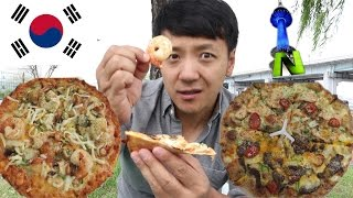 Trying KOREAN Seafood & Bulgogi PIZZA in Seoul South Korea From Pizza Hut & Dominos