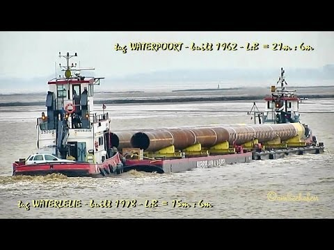 tug WATERPOORT PD2884 and WATERLELIE PB8981 towing double barge Schlepper Ponton Emden Germany