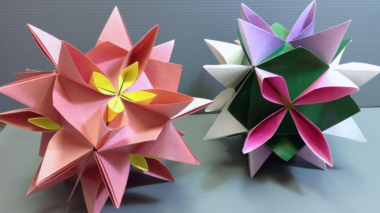 YouTube  glue   Spring no kusudama origami Origami Kusudama Lily Water