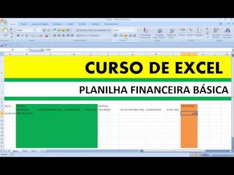 Curso de Excel Planilha Financeira Básica Finanças Controle Financeiro Pessoal gastos pessoais