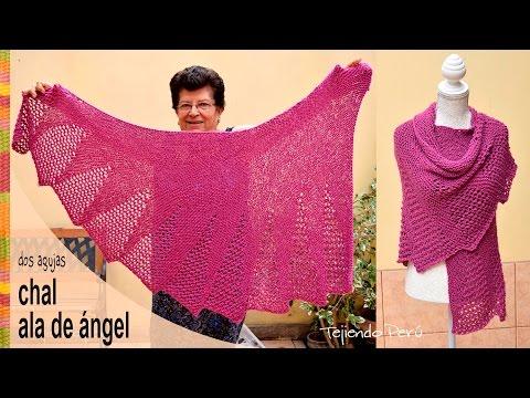 Chal ala de ángel tejido en dos agujas - Tejiendo Perú