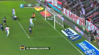 Gol de Echeverría. Arsenal 1 - Boca 1. Fecha 16. Torneo Primera División 2014. FPT