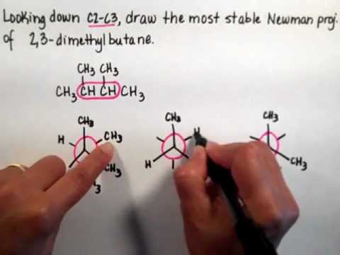 How To Draw The Newman Projection of 23 dimethylbutane