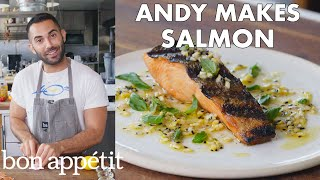 Andy Makes Grilled Salmon with Lemon Sauce | From the Test Kitchen | Bon Appétit