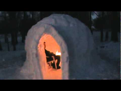 igloo with fireplace burning youtube. Black Bedroom Furniture Sets. Home Design Ideas