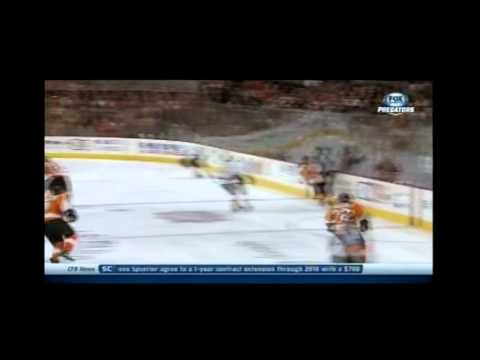 Awesome save by Carter Hutton against Flyers (1-16-2014)