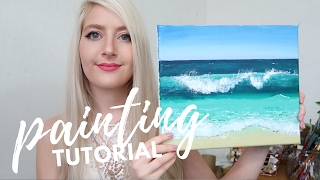 PAINTING TUTORIAL Acrylic Ocean for Beginners  | Katie Jobling Art