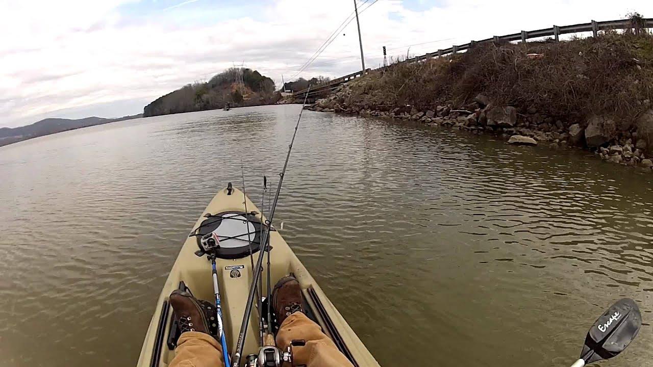 Jerk bait style gopro kayak bass fishing lake for Fishing lake guntersville
