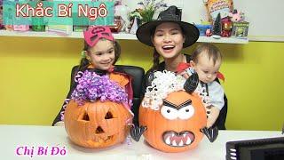 Chị Bí Đỏ Và Bé Peanut Thi Khắc Bí Ngô Cho Halloween 2017 / Trò Chơi Vui Nhộn Cho Trẻ