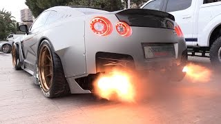 1750HP Nissan GT-R FROM HELL!! Start, Revs & FLAMES!