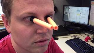 Nerf Darfts Stuck Onto Eyeballs Looks Really Creepy