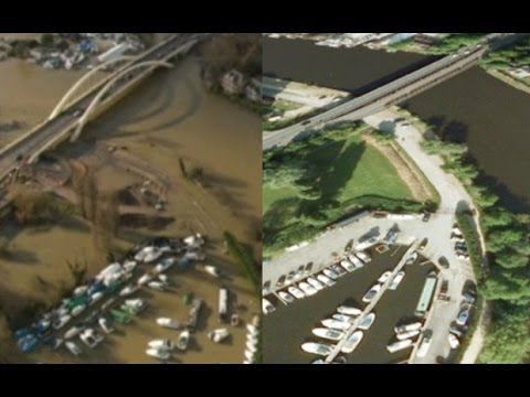 River Thames flooding: before and after aerials