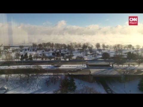 Time lapse of polar vortex effect over Lake Michigan