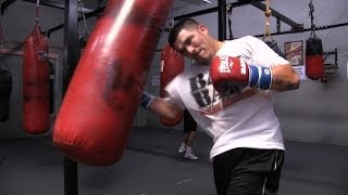 Manny Pacquiao Vs. Brandon Rios-Rios Heavy Bag Workout And