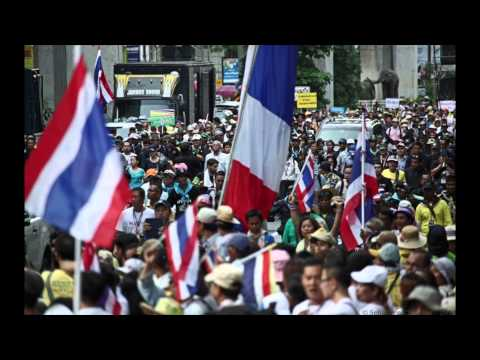 Bangkok (Thailande) 10-05-2014 Suthep Thaugsuban et ses partisans défilent à Bangkok