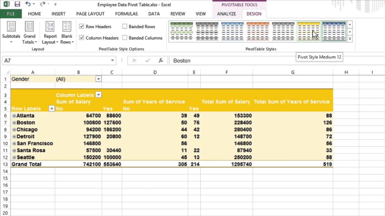 How to format your pivot tables in excel 2013 for dummies for Table design ribbon in excel