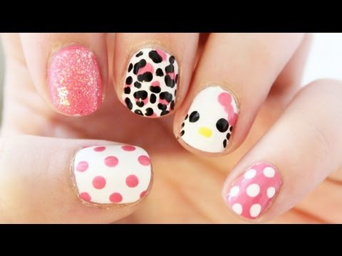 Sanrio 6 Hello Kitty 3d Acrylic Short Nail Art Design Tutorial