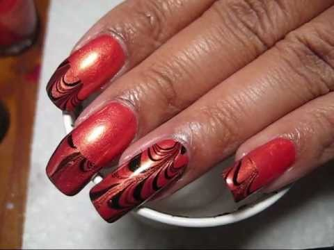 Halloween Orange & Black French Tip Water Marble Nail Art Tutorial