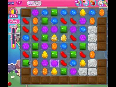 How to beat Candy Crush Saga Level 59 - 1 Stars - No Boosters - 24