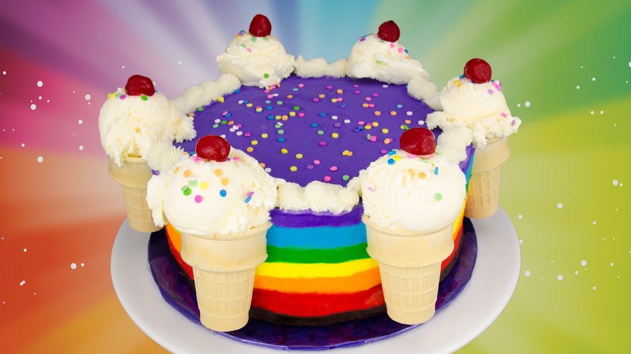 Cake Ice Cream On Top : Rainbow Ice Cream Cake Recipe: How to Make a Rainbow Ice ...