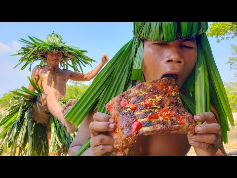 Funny Cooking | Roasted Pig Ribs Spicy Recipe Eating Yummy.
