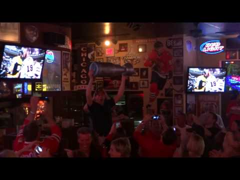 Passing Around the CUP at BobbyG's - Chicago Blackhawks BEAT Boston Bruins with 17 Second LEFT!