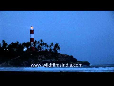Evening view of Light House at Kovalam Beach
