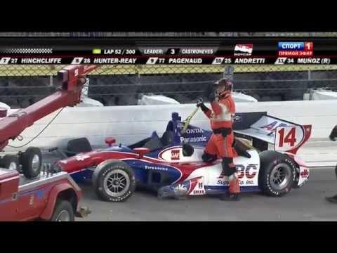 Aleshin and Sato Big Crash @ 2014 Indy Car Iowa