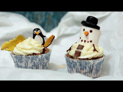 Kids-Cupcakes mit Pinguin & Schneemann