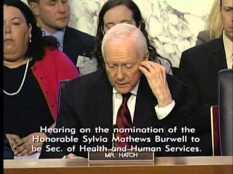 Hatch Questions Sylvia Mathews Burwell, Head HHS Nominee at a Finance Committee Hearing