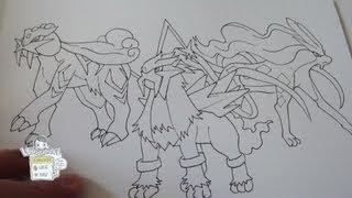 How To Draw Legendary Beasts Trio No.243 Raikou, No.244