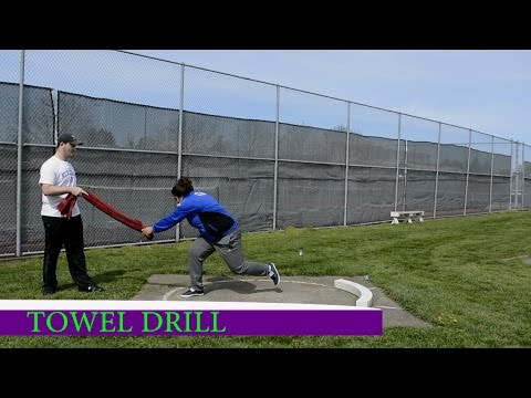 Keeping non-throwing Arm Back Shot Put Towel Drill (Glide)