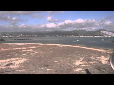 United Airlines Boeing 777-200 landing in Honolulu International Airport (HNL) BEAUTIFUL VIEW