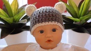 Crochet Baby Beanie With Ears Crochet Bear Ears