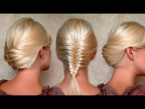 french fishtail braid and christmas new years eve updo