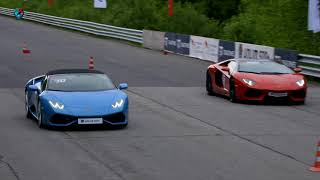 Lamborghini Aventador Roadster vs Huracan Spyder. DragTimes info video - Драгтаймс инфо видео.
